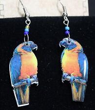 "Pichincha Ceramic Orange Blue Parrot Earrings Hand Painted  2 1/2""  Drop (6)"