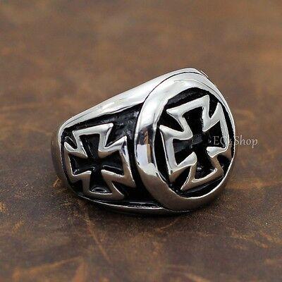 Men's Biker War Hero German Iron Cross Pattée Patty Formée Stainless Steel Ring