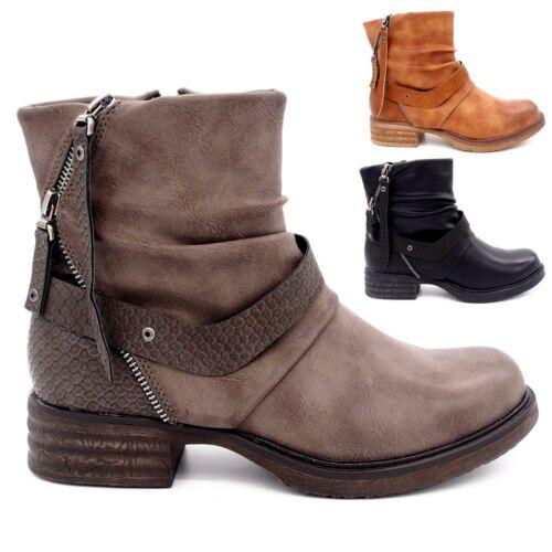 Bottines chaussures femme Bout rond Talon plat cuir synthétique