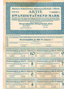 Altonaer-Industriebau-AG-Altona-1923-20-000-MARK-ungelocht-Kupons-selten-an