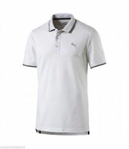 Polo-Maglia-T-shirt-Manica-Corta-Uomo-PUMA-Biamca-Profili-Grigio-Cotone-Taglia-L
