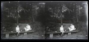 Il Legno Bambini c1920 Foto Negativo Placca Da Lente Stereo Vintage