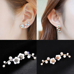 EAR VINES Shell Pearl Flower Ear Cuffs Wrap Pin Sweep up Climber Earrings LfSOb