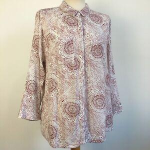 White Stuff Classic Patterned Lightweight Paisley Shirt Blouse Size 10