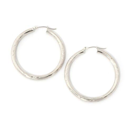 "35mm 1.4/"" 14k Yellow or White Gold 3mm Half Diamond Cut Hoop Earrings"