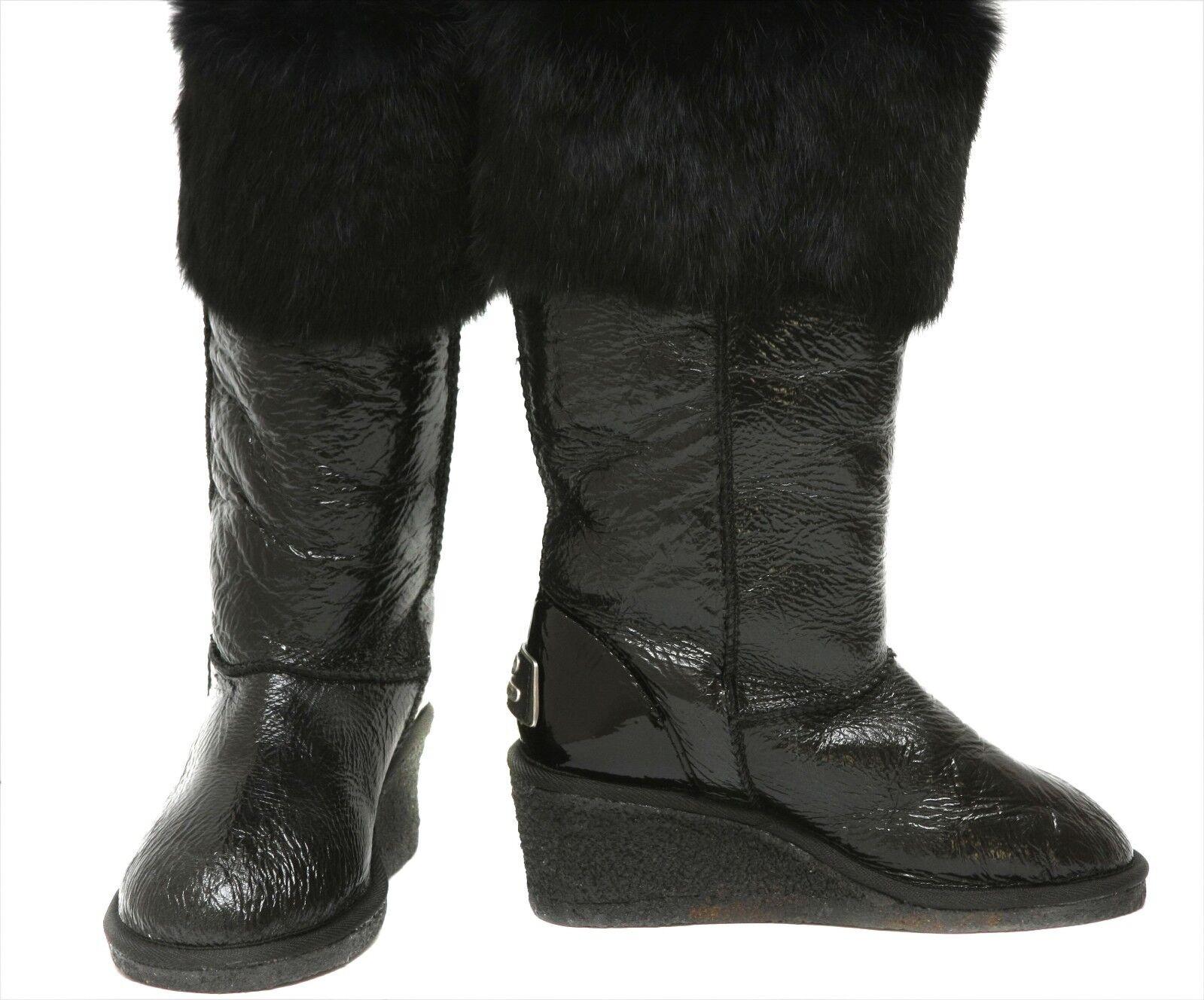 New KOOLABURRA  Sheepskin 'Trinity' Rabbit Fur Trimmed Wedge stivali donna sz 5