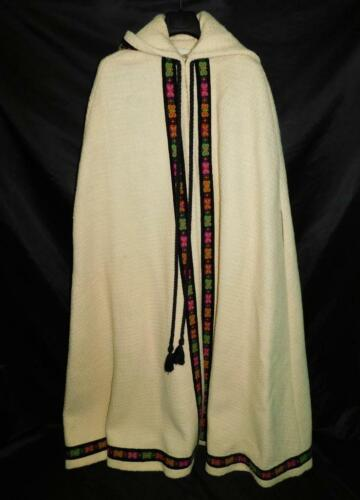 Vintage 60s Ivory White Wool Cape Black Butterfly
