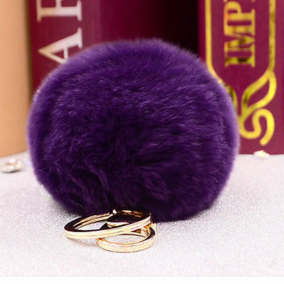 Soft Cute Rabbit Fur Ball PomPom Cell Phone Car Pendant Handbag Key Chain Ring