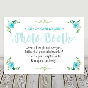 Wedding Po Booth Props | Pretty Blue Photo Booth Table Sign Poem For Wedding Birthday Props