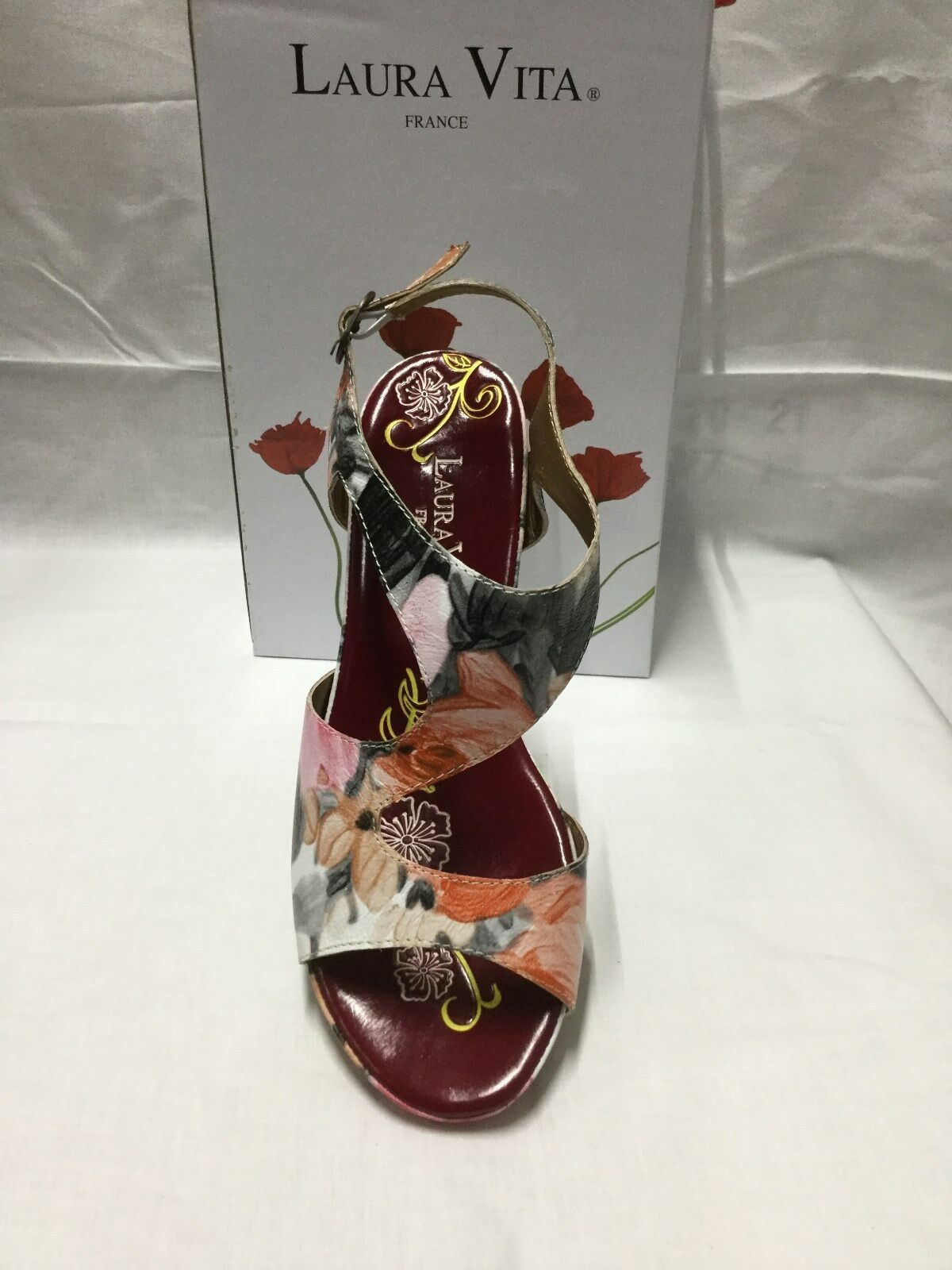 Ladies shoes Laura Vita Vapeur pink floral  size 9 40 Made In France