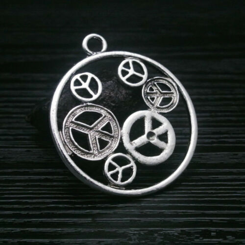 3pcs Charms Peace Symbols in Round Old Silver Bead Pendant Diy Necklace 49*43mm