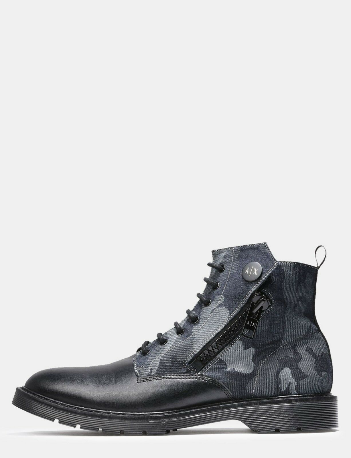 Armani Exchange Authentic A|X ZIPPERED NAVY CAMO BOOTS BLACK NWT