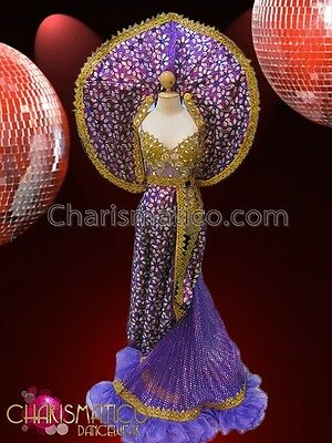 CHARISMATICO Gold Accented Sheer Purple Leotard With Matching Purple Gown Set