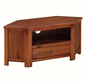 Image Is Loading Prussia Acacia Corner Tv Stand Solid Dark Wood