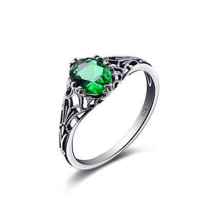 emerald ring promise ring May birthstone princess cut gems green gemstone sterling silver ring