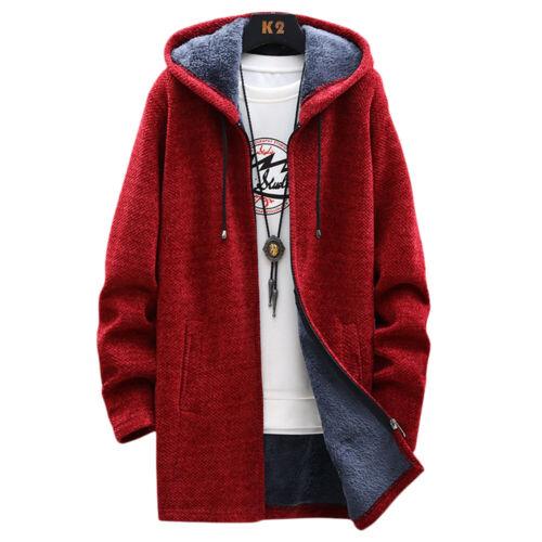 Mens Fleece Hooded Hoodie Winter Warm Casual Parka Coat Long Jacket Trendy Tops
