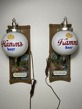 Vintage Pair of Hamm's Beer Wall Sconce Globe Lighted Sign Display Red Canoe