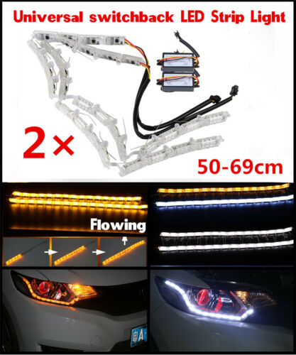 2 X LED Switchback Strip Light DRL Car Dual Colors Flexible Flowing Signal Lamps