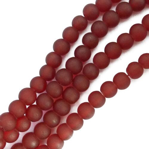 Cuentas de vidrio redondo Frost 4mm rojo marrón perlas spacer nenad-Design r001