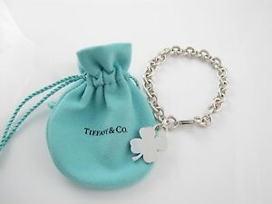 2074eb2f484ed Details about Tiffany & Co Silver Clover Leaf Charm Bracelet Bangle