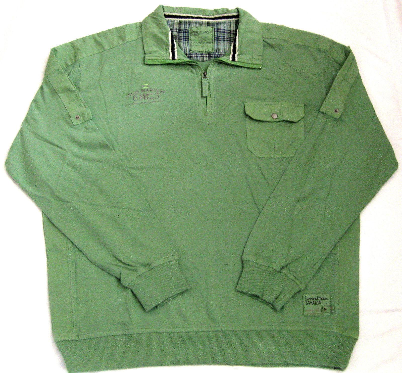 Monte Carlo Herren Sweater Qualitäts Sweatshirt mit Zip apfelgrün M-XXXXL