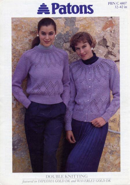 6e2993a842b5 Knitting Pattern Ladies Lacy Panel   Yoke Sweater Cardigan Twin Set ...