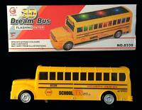 Batttery Operated Bump And Go Light Up Yellow School Bus With Music Moving