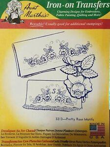 Pretty Rose Motifs #3213 Aunt Martha/'s Hot Iron Embroidery Transfer Pattern