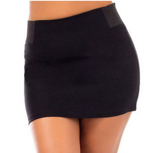 S6 - 1X 2X 3X Plus Size Sexy Stretchy Waist Back Zipper Short Mini Skirt Black