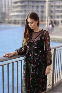 Détails sur Zara Robe Fleurs Broderie à Fleurs Fleuri Brodé Robe à Lanières TAILLE S M