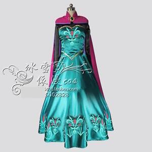 frozen schnee elsa anna kr nung kleid erwachsene frauen queen umhang ebay. Black Bedroom Furniture Sets. Home Design Ideas