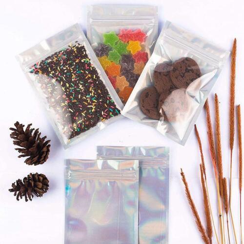 100pcs Holographic Rainbow Laser Foil Heat Seal Zip Lock Pouch Bags Beauty qui