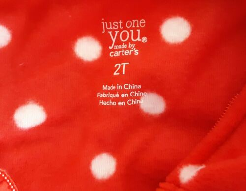 Carters Just One You Girls Footed Fleece Pajamas 2T 3T Santa Christmas Set of 2