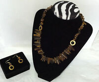 """Qvc Brown Tiger's Eye Necklace With Earrings 18"""" Long Resin Material"""