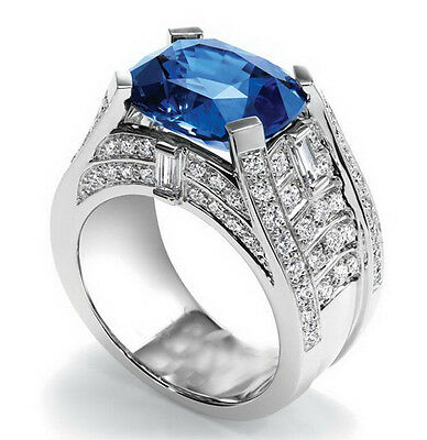 Fashion 925 Silver Filled Sapphire  Birthstone Engagement Wedding Ring Size 6-10