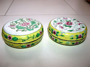 Beautiful-Antique-Chinese-Canton-Famille-Rose-Enameled-Round-Lided-Box-Pair