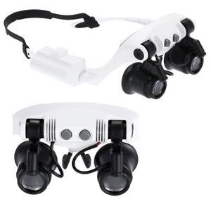 Occhiali-Lente-D-039-Ingrandimento-10X-15X-20X-25X-Portatile-Con-2-LED-Leggero