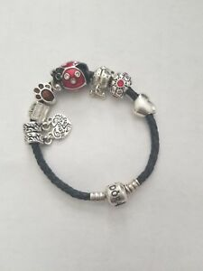 Image Is Loading Authentic Pandora Leather Bracelet 6 7 W Charms