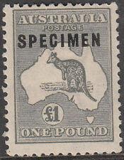 "Stamp Kangaroo 1 pound grey 3rd watermark SPECIMEN type ""C2"" overprint MVLH"
