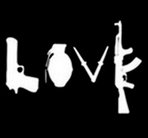 Image Is Loading Love Spelled With Guns AK 47 2nd Amendment