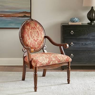 Antique Vintage Arm Chair Red Honey Paisley Wood W
