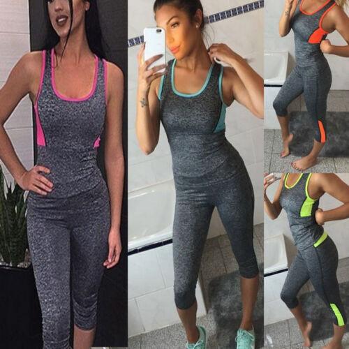 Damen Sommer Sport Gym Yoga laufen Fitness Kurz Top Leggings sportliche Kleidung