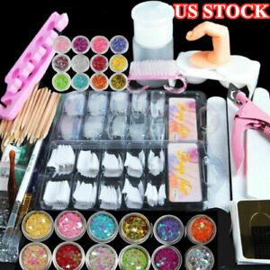 Acrylic-Nail-Kit-Powder-Glitter-Nail-Art-Manicure-Rhinestone-Tool-Tips-Brush-Set