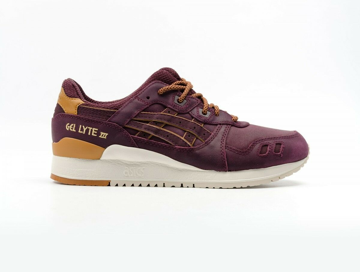 Mens Womens Asics Gel Lyte III H6V1L 5252 Rioja Red Leather Casual Trainers