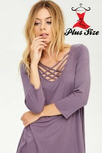 Deep-Purple-Criss-Cross-V-Neck-Quarter-Sleeve-Stretch-Tunic-1X-2X-3X