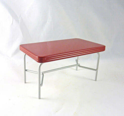 Dollhouse Miniature Retro Red Top Kitchen, Workshop Table, T5911