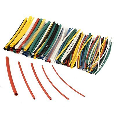 127Pcs 7Sizes2:1Polyolefin Heat Shrink Tubing Electrical Cable Sleeve Wire Black