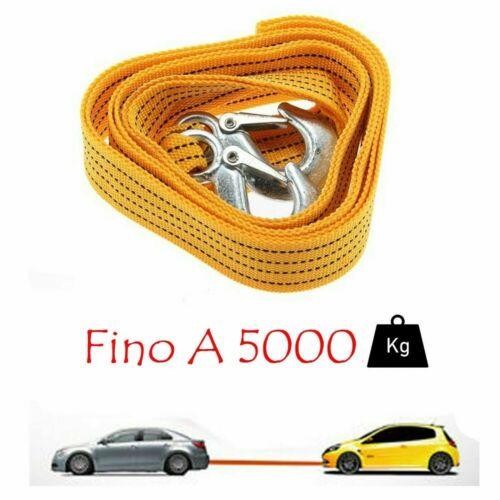 CINGHIA CAVO DA TRAINO SOS AUTO SUPER RESISTENTE FUNE CORDA 2 GANCI 5000KG