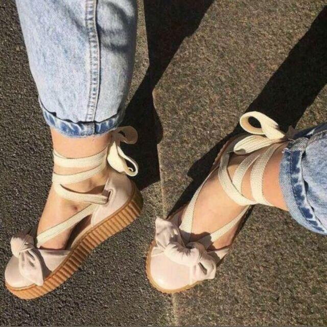 SIZE 7 Puma Fenty x Rihanna 365794 02 Bow Creeper Sandal Pink Tint slides  beige