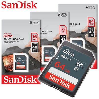 SanDisk 16GB 32GB 64GB Ultra Class 10 UHS-I SD 48MB/s SGHC / SDXC memory card